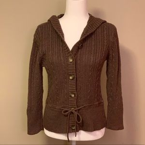 Aeropostale Brown Hooded Cardigan